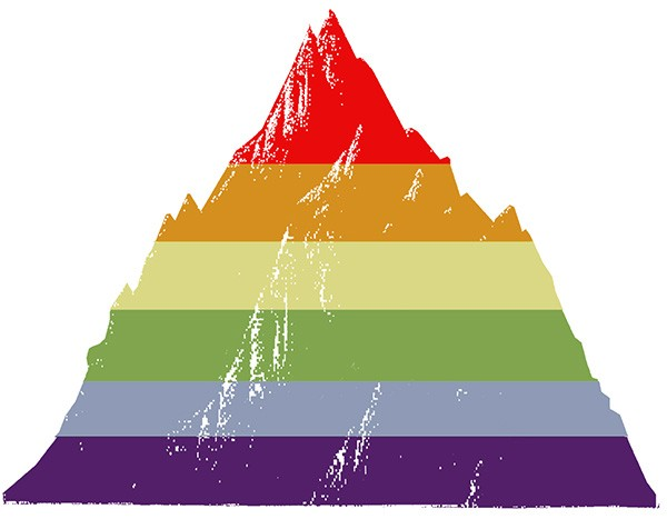 Revel & Riot LGBTQ rainbow mountain graphic